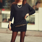 Spring Autumn Women Casual Pullover Bat Sleeves Package Hip Mini Bodycon Dress
