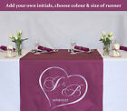 Personalised Wedding Anniversary Table Runner Cloth - Embroidered Initials