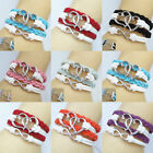 New DIY Jewelry Fashion Lots Color Leather Cute Heart Infinity Charm Bracelet