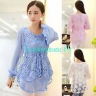 New Fashion Women LACE Sheer Chiffon Long Sleeve Shirt Blouse Casual Top M - XXL