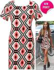 REDUCED NEW CREAM BLACK CORAL AZTEC PRINT SHORT SLEEVE SHIFT TUNIC DRESS SM ML