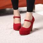 Sexy Women Mary Jane Ankle Strap High Heel Pump Stilettos Suede Platform Shoes-e