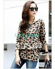 New Women Leopard Crewneck Long Sleeve Casual Knitted Blouse Loose Tops L XL