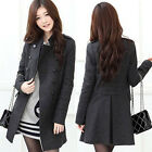 Dark Grey NEW Women Long Sleeve Stand-up Collar Double Breasted Coats Jacket 4SZ