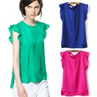 Women Fashion Shirt Blouse Chiffon Candy Leisure Cool Tops Green Rose Red Blue Z