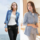Women Hot Popular Retro vintage Solid Long Sleeve Blue Denim Shirt Tops Blouse O