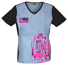 Star Wars R2 D2 Cherokee Tooniform V Neck Knit Panel Scrub Top 6834 CB SRRD