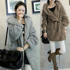 2 Colors New Women Loose Winter Warm Fleece Open Coat Outerwear Topcoat Parka SR