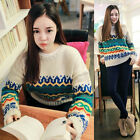 Vintage Lady Splicing Pullover Knitting Sweater Tops Jumpers Cardigans Blouse ZT