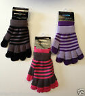 Ladies Gloves 2 pairs in 1 - Fingerless Matching Set black Pink Purple