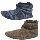 Mens Clarks Kite Jump Charcoal Or Blue Knit Textile Slipper Boots