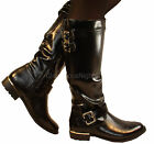 LADIES BLACK FLAT KNEE CALF HIGH BOOT BIKER RIDING STYLE ELASTIC