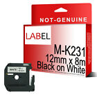 Black on White Label Tape 12mm x 8m M-K231 for Compatible Brother MK-231 P-Touch