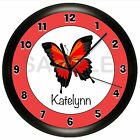 BUTTERFLY WALL CLOCK PERSONALIZED RED GIRLS BEDROOM GIFT DECOR BLACK ART