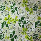 FFA-134 GREEN FLORAL ON WHITE COTTON LINEN CANVAS FABRIC BY 0.5 Yard