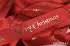 Berisfords Merry Christmas Ribbon Red With Foil Print  2  Widths 10mm & 25mm