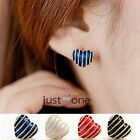 Hot Chic Women Girls Fashion Heart Stripe Shining Super Cute Studs Earrings NEW