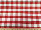 ( Swatch sample) Upholstery Drapery Twill Red and White Check 21DR