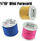 "Micro Paracord 1/16"" (2mm) 85lb Tensile Strength 100 Foot Spools Various Colors"