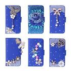 New Bling Luxury Crystal Clear Blue Wallet Leather Case For Apple Iphone Samsung