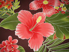 Hawaiian Print Cotton Fabric, Brown with hibiscus print -   sample available