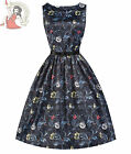 LINDY BOP 50's AUDREY BLACK FOREST floral SATIN DRESS