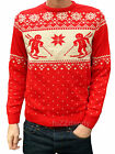 Gingerbread Man Xmas Ski JUMPER RED vtg indie retro kitsch Fairisle fair isle