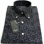 Black Paisley Pattern Men's Shirt  Vintage Button Design 100% Cotton Relco -NEW