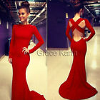 XMAS FIT RED New Sexy Womens Backless Cocktail Evening Party Long Fishtail Dress