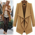 Women's Woolen Blend Cardigan Coat Plus Size Outwear Parka Overcoat With Blet