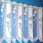 "Quality Floral Panel White Cafe Net Sold By The Metre. In 12"", 18"" & 24"" Drop"