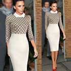 Women Lapel 3/4 Sleeve Office Bodycon Cocktail Party Evening Shift Pencil Dress