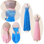 XMAS GIFT LONG BEADING Wedding Cocktail Evening Bridesmaid PARTY PROM BLUE Dress
