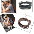 ROPE JEWEL LEATHER WRISTBAND BRACELET BRAIDED WOVEN MULTI-LAYER MENS & LADIES