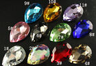 12pc 30x40mm Pointed back crystal Faceted Glass foiled Teardrop diy Jewels beads