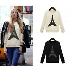 Women Eiffel Tower Long Sleeve Casual Blouse Sweatshirt Pullover T-shirt Top