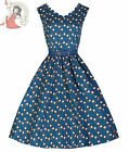 LINDY BOP 50's DARIA HEART LOCKET DRESS PETROL BLUE
