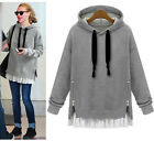 Ladys Hoodie Casual cotton Hem Zip Side Tops Jumper Warm Coat plus Size hot