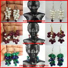 100% NATURAL PEARL RUBY SAPPHIRE EMERALD BEADED EARRINGS ~ EXCLUSIVE JEWELRY SKF