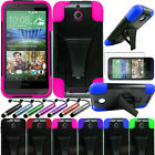 For HTC Desire 510 ShockProof Hybrid Rubber Protective Hard Case Cover + STAND