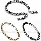 Mens Stainless Steel Byzantine Chain Link Lobster Clasp Bracelet Cuff Gift Punk