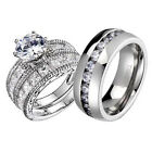 He/She Titanium Antique Sterling Silver CZ Women's & Men's Wedding Ring Sets
