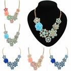 Womens Bib Necklace Chain Crystal Rose Statement Chunky Pendant Fashion Jewelry