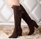 Plus Size Retro Buckle Womens Block Heel Zip Knee High Faux Suede Riding Boots
