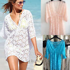2014 Sexy Fashion Women Lace Loose Beach Mini Dress V Neck Hollow Tops Blouse
