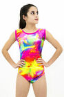Sleeveless gymnastic disco dance rainbow velour leotard