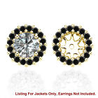Black AAA Diamond Solitaire Halo Bridal Women Earrings Jackets 14K Yellow Gold