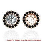 Black AAA Diamond Solitaire Halo Bridal Women Earrings Jackets 14K Rose Gold