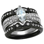 Marquise Cut AAA Cz Black Stainless Steel Wedding Ring Set Women's Size 5-10