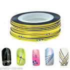 2/10/30 Gold Nail Art Metallic Hollographic Tape Foils Striping Decal Stickers